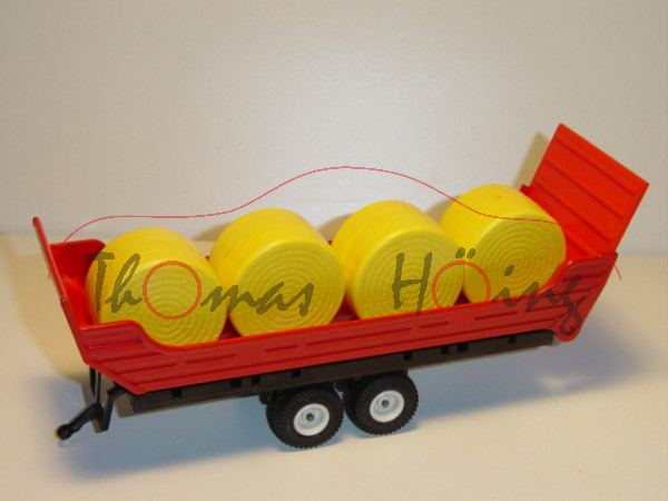 Heuballen-Anhänger, verkehrsrot/schwarz, mit 4 gelben Heuballen, kleiner Lackschaden