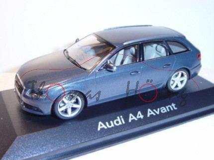 Audi A4 Avant, Mj 2008, meteorgrau, Minichamps, 1:43, Werbeschachtel