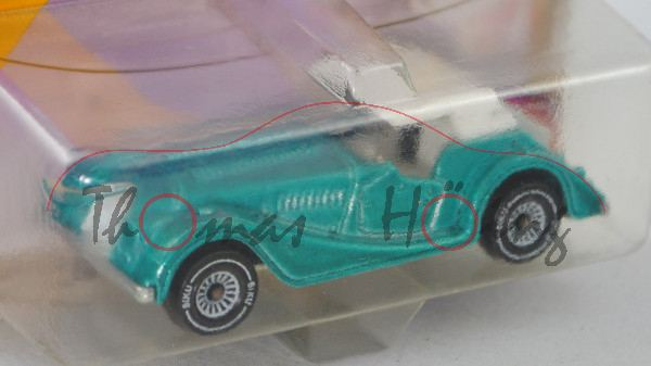 00001 Morgan Plus 8 (Modell 1969-1987), blass-hell-blaugrünmetallic, innen reinweiß, Lenkrad reinwei