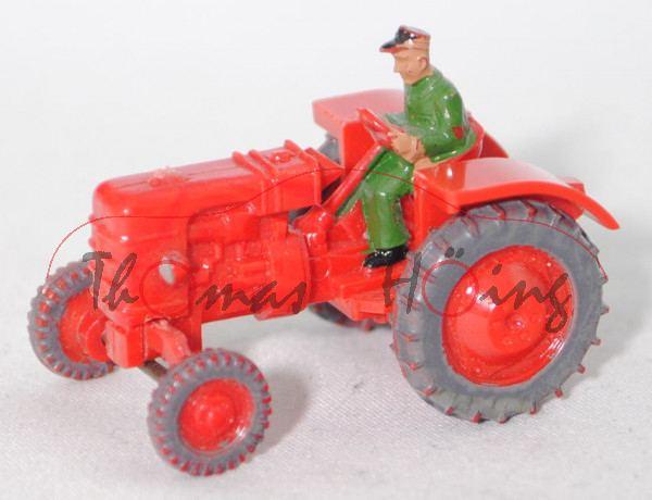 00001 FAHR-Dieselschlepper D 180 H (Modell 1954-1959), rot, Luftansaugrohr weg, Pendelachse breit