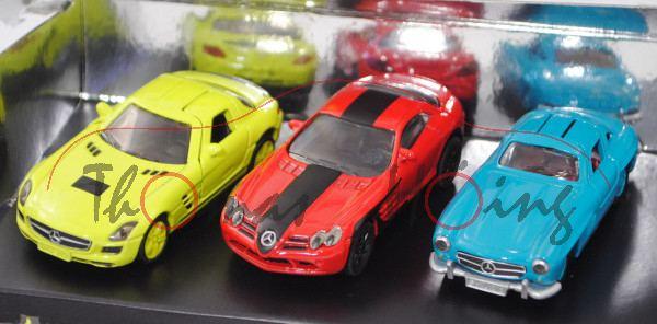 00701 Mercedes Set 1: SLS AMG Coupé + SLR McLaren + 300 SL, SIKU, 1:55, L17mpP Werbebox (Limited)
