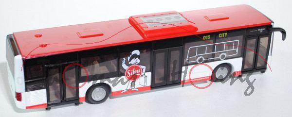 00005 SSC Stadtbus MAN Lion's City Solobus mit 3 Türen (Typ A37, Modell NL 243), rot/weiß, SSC 2014