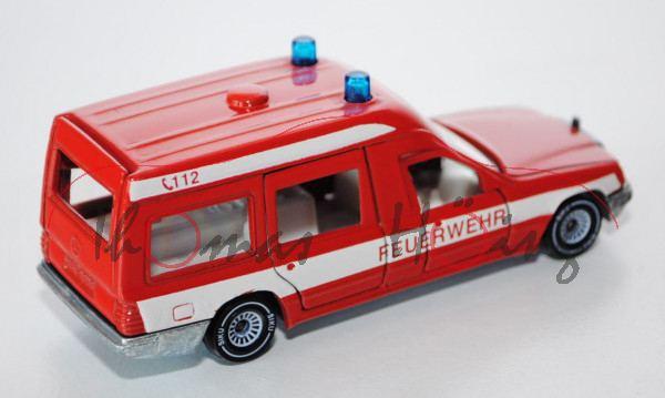 Mercedes 260 E Binz-Ambulanz, verkehrsrot, FEUERWEHR / C 112 in rot, Krankenraumfenster klar, B4