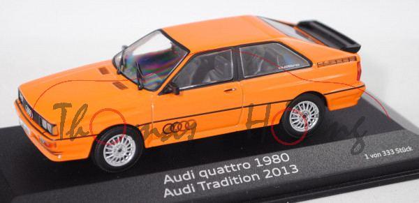 Audi Quattro (B2, Typ 85Q, Modell 1980-1982, Baujahr 1980), tieforange, Minichamps, 1:43, Werbebox