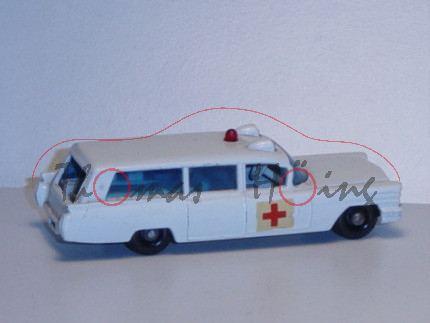 S & S Cadillac Ambulance, weiß, Aufkleber rotes Kreuz auf den Seiten, Matchbox Series