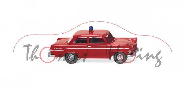 Feuerwehr - Opel Olympia Rekord P2 (Typ Rekord '61, Modell 1960-1963), karminrot, Wiking, 1:87, mb