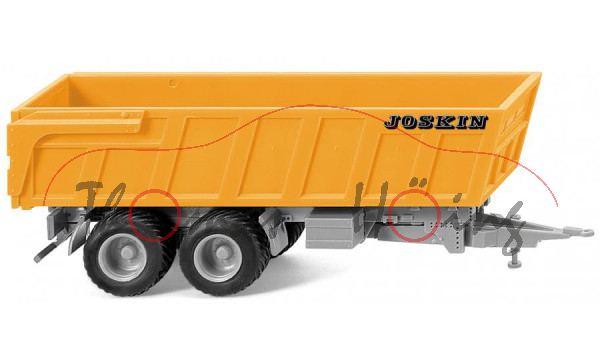 Joskin 2-Achs-Muldenkipper, narzissengelb/silbergrau, JOSKIN auf den Seiten, Wiking, 1:87, mb