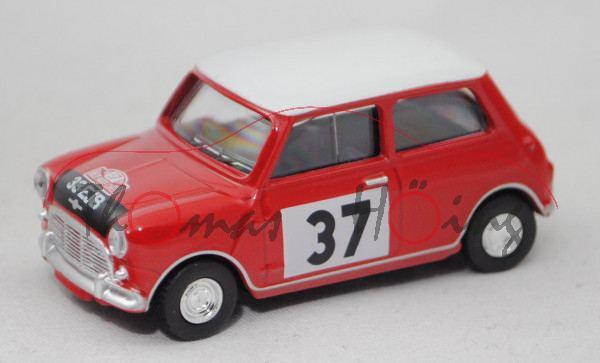 BMC Austin Mini Cooper S Mk 1, rot/weiß, Monte Carlo 1964, Fahrer: Hopkirk/Liddon, Nr. 37, Norev, mb
