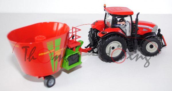 McCormick Traktor TTX 210 XtraSpeed mit Futtermischwagen, rot/silbergrau/schwarz und verkehrsrot/gel