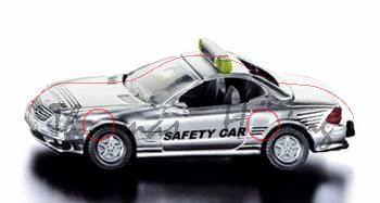 00001 Mercedes-Benz SL 55 AMG mit Dach (Baureihe R 230) Safety Car, Modell 2001-2002, weißaluminiumm