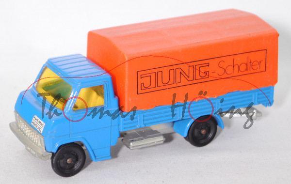 Hanomag-Henschel F-Reihe (Mod. 1969-1971) Pritschenwagen mit Plane, blau, JUNG - Schalter auf Plane