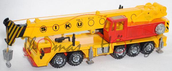 00001 GROVE TM 875F Hydraulischer Kran auf Faun-Kranwagenfahrgestell, signalgelb/rot, LKW8, SIKU, m-