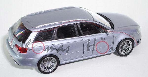 Audi RS4 Avant (B7, Typ 8E), Modell 2005-2009, avussilber, 1:18, Minichamps, Werbeschachtel