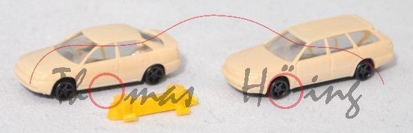 Taxi-Set: Audi A4 (B5, Mod. 94-99) + Audi A6 Avant (C4, Mod. 94-97), hellelfenbein, N-Spur, Rietze