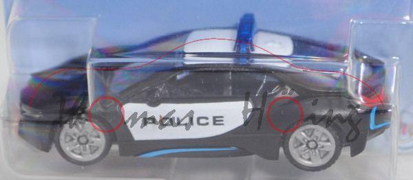 00000 BMW i8 Coupé (Typ I12, Modell 2014-2018) US-Police, weiß/schwarz, B47 silbergrau, SIKU, P29e