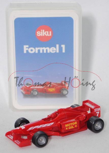 00000 Formel 1 Quartett mit Formel 1 Rennwagen, karminrot, ca. 1:55, SIKU SUPER / TOP ASS, P28b