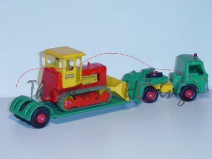 Ford Tractor Low Loader with Case Bulldozer, smaragdgrün/chromgelb und chromgelb/verkehrsrot, LAING,