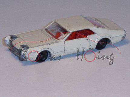 Oldsmobile Toronado, cremeweiß, IE rotorange, Lenkrad weiß, R2, Sprung in Frontscheibe, Modell kompl