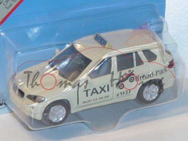 00000 BMW X5 4.8i (Typ E70, Modell 2006-2010) Taxi-Geländewagen, hellelfenbein, innen+Lenkrad achatg
