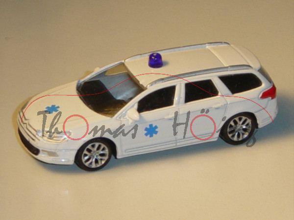 Citroen C5, reinweiß, Ambulance-Logo auf den Türen und auf der Motorhaube, mit Blaulicht, 1:50, Nore