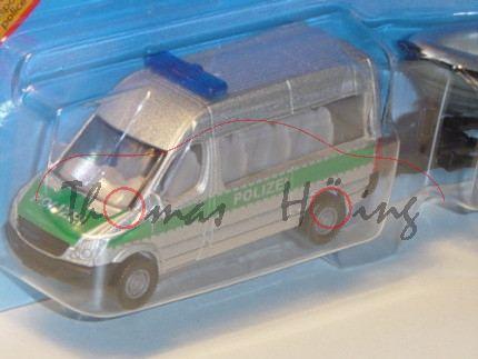 Mercedes Sprinter Polizei-Transporter mit Boot, silbergraumetallic/grün, POLIZEI, ohne Mercedes-Ster