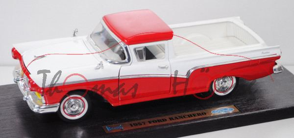 Ford Ranchero (1. Gen., Modell 1957-1959, Baujahr 1957), rot/weiß, ROAD LEGENDS / Yatming, 1:18, mb