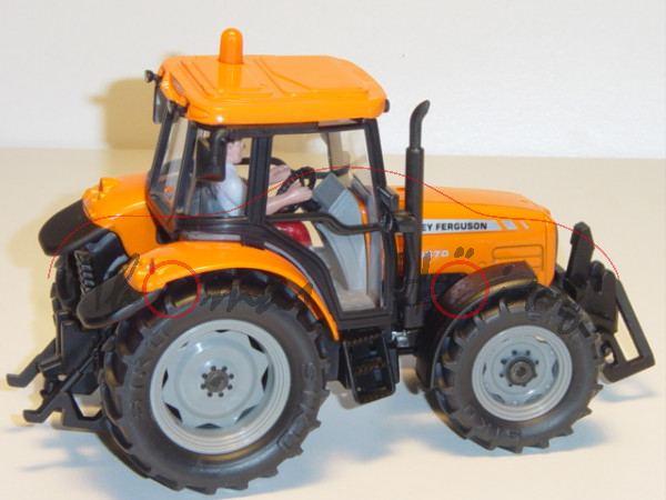 00402 Massey Ferguson MF 5470 Dyna-4 Traktor (Modell 2006-2007), hellrotorange/mattschwarz, 40 hinte