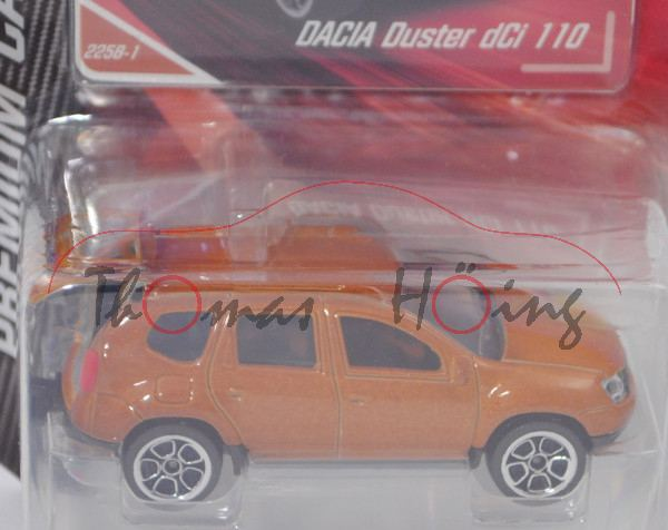Dacia Duster 1.5 dCi 110 (2. Gen., Modell 2018) (Nr. 225A), hell-ockerbraunmet., majorette, 1:64, mb