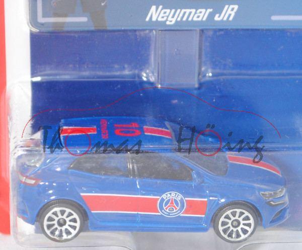 Renault Mégane R.S. (Mod. 18), enzianblau, 10 / NEYMAR JR, mit Sammelkarte, majorette, 1:63, Blister