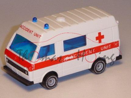 VW LT 28 Medi-Mobil (1. Generation), Modell 1975-1986, weiß, B4, ACCIDENT UNIT, Druck m-, GB