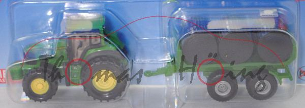 00701 IE John Deere 7530 Premium (Mod. 2007-2011) mit Ballentransportanhänger, grün/schwarz, P29e