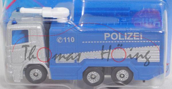 00000 Scania R380 (CR16, Modell 04-09) Polizei Wasserwerfer, silber/blau, C 110 POLIZEI SIKU, P29e