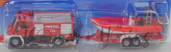 00101 F MB Unimog U 400 (BR U 405, Mod. 01-14) TLF mit Anhänger und Boot, rot/weiß, POMPIERS, P29e
