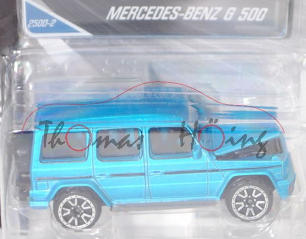 Mercedes-Benz G 500 (MOPF (Modellpflege) 2018, Mod. 18-), hell-himmelblaumet., majorette, 1:61, mb