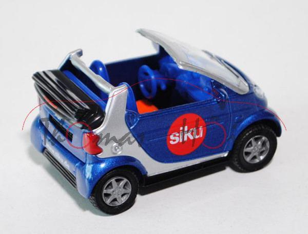 smart fortwo cabrio passion (Typ A 450, Mod. 00-03), violettblaumet./weißalu, siku, Werbeschachtel