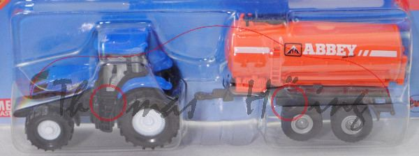 00700 IE New Holland T8.390 (Mod. 2011-2015) mit ABBEY Vacuum Tanker Range 4000T, blau/orange, P29e