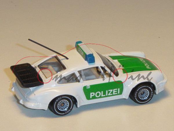 Porsche 911 Turbo 3,3 (G-Modell Typ 930, Modell 1978-1989), Autobahn-Streifenwagen, reinweiß/minzgrü