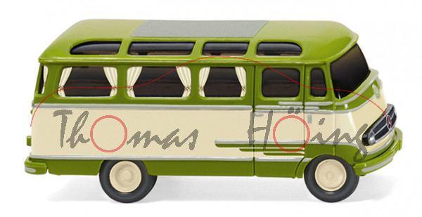 Mercedes-Benz O 319 D Panoramabus (Baureihe L 319, Modell 1955-1967), grün/beige, Wiking, 1:87, mb