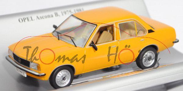Opel Ascona B 1.6 N (2. Gen., Typ B, Vorfacelift, Modell 75-79), signalocker, Schuco, 1:43, Werbebox