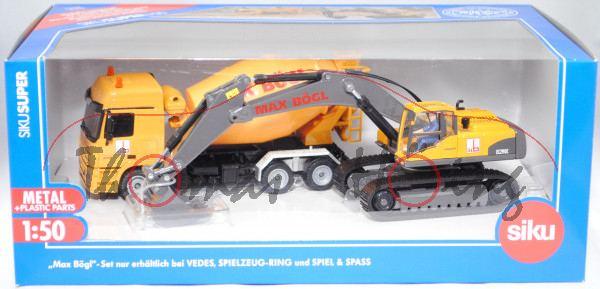 00400 Baumaschinen-Set MAX BÖGL mit Hydraulikbagger Volvo EC290C + MB Actros L 2648 Fahrmischer