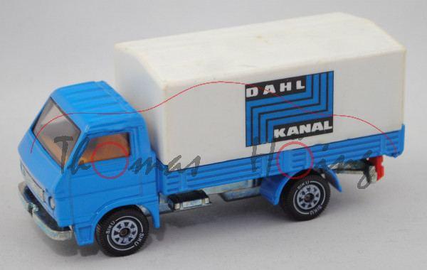 MAN-VW 9.136 F LKW (Typ G90, Mod. 79-87) mit Pritsche und Plane, blau, DAHL / KANAL (Druck m-)