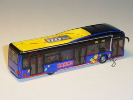 MAN Linienbus, schwarz/zinkgelb/ultramarinblau, HARBIO / HARIBO MACHT KINDER FROH UND ERWACHSENE EBE