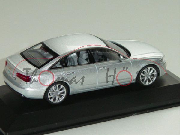 Audi A6 (C7, Typ 4G), Modell 2011-, eissilber, Schuco, 1:43, Werbeschachtel