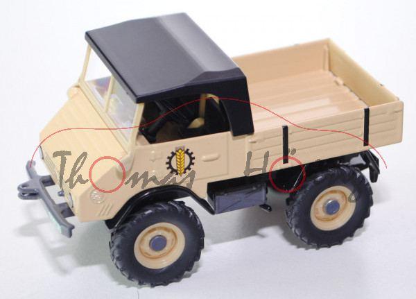 00302 Mercedes-Benz Unimog 411 (Modell 1957-1961), beige, SIKU 1:32, Werbebox (Traktorado 2013)