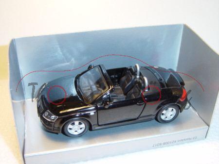Audi TT Roadster, Mj. 99, schwarz, innen schwarz, Sondermodell Holsten, Maisto, 1:43, Werbeschachtel