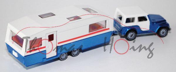 00002 Jeep CJ-7 mit Caravan, verkehrsblaumetallic und cremeweiß/verkehrsblaumetallic, innen lichtgra