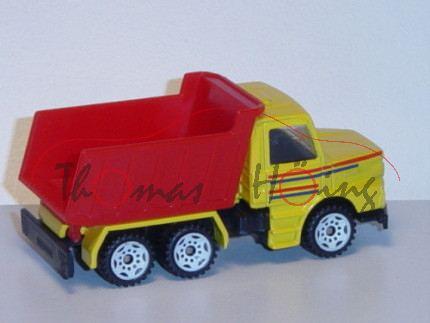 Scania T143H-400 (Typ Serie 3, Modell 1988-1991) Muldenkipper, kadmiumgelb, verkehrsrot/saphirblaue