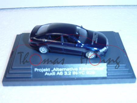 Audi A6, nachtblau, Mj 2004, Projekt Alternative Kältemittel, IN-YC 929, Busch, 1:87, Werbeschachtel