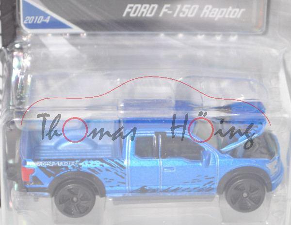 Ford F-150 Raptor SuperCab Race Truck (13. Gen., Modell 14-), h.-signalblaumet., majorette, 1:72, mb