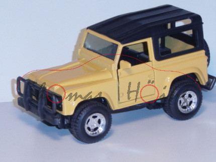 Land Rover Defender, safarigelb, Türen zu öfnen, mit Allradantrieb, 1:32, New Ray